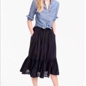 J. Crew Black Polka Dot Peasant Midi Skirt